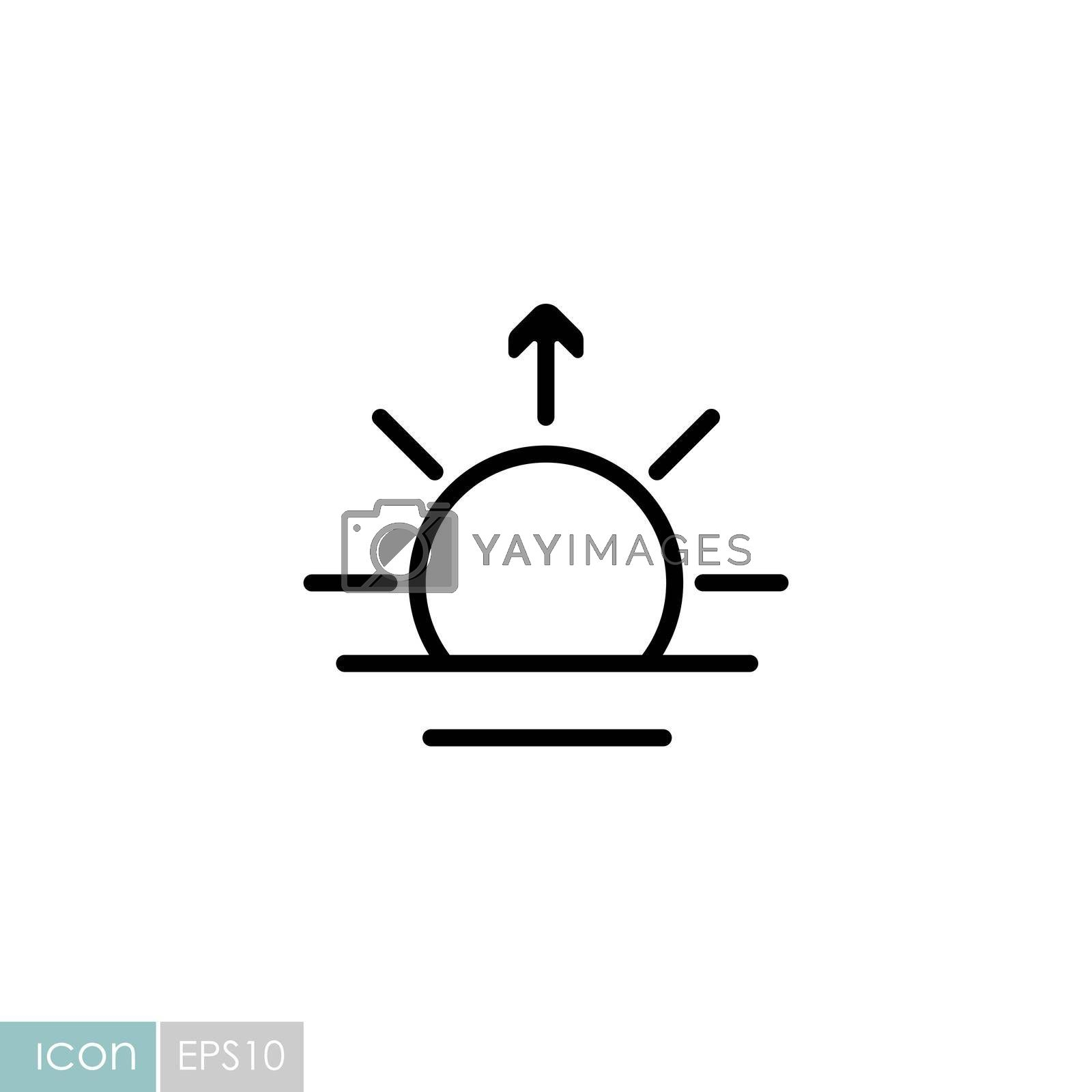 Sunrise vector icon. Meteorology sign. Graph symbol for travel, tourism and weather web site and apps design, logo, app, UI