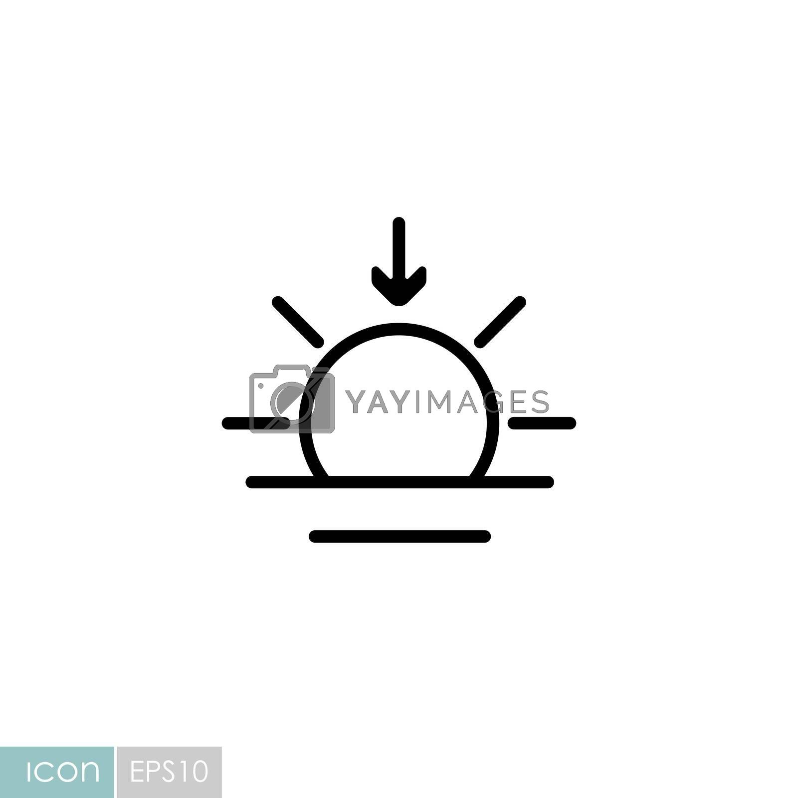 Sunset vector icon. Meteorology sign. Graph symbol for travel, tourism and weather web site and apps design, logo, app, UI