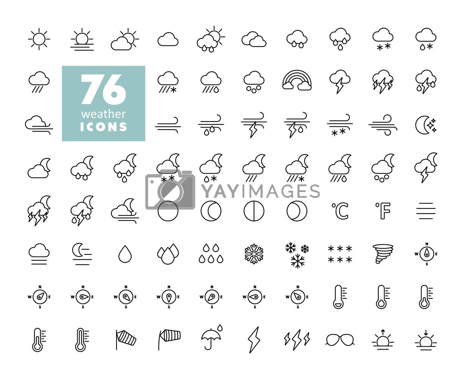 Vector weather forecast icon set. Meteorology sign. Graph symbol for travel, tourism and weather web site and apps design, logo, app, UI