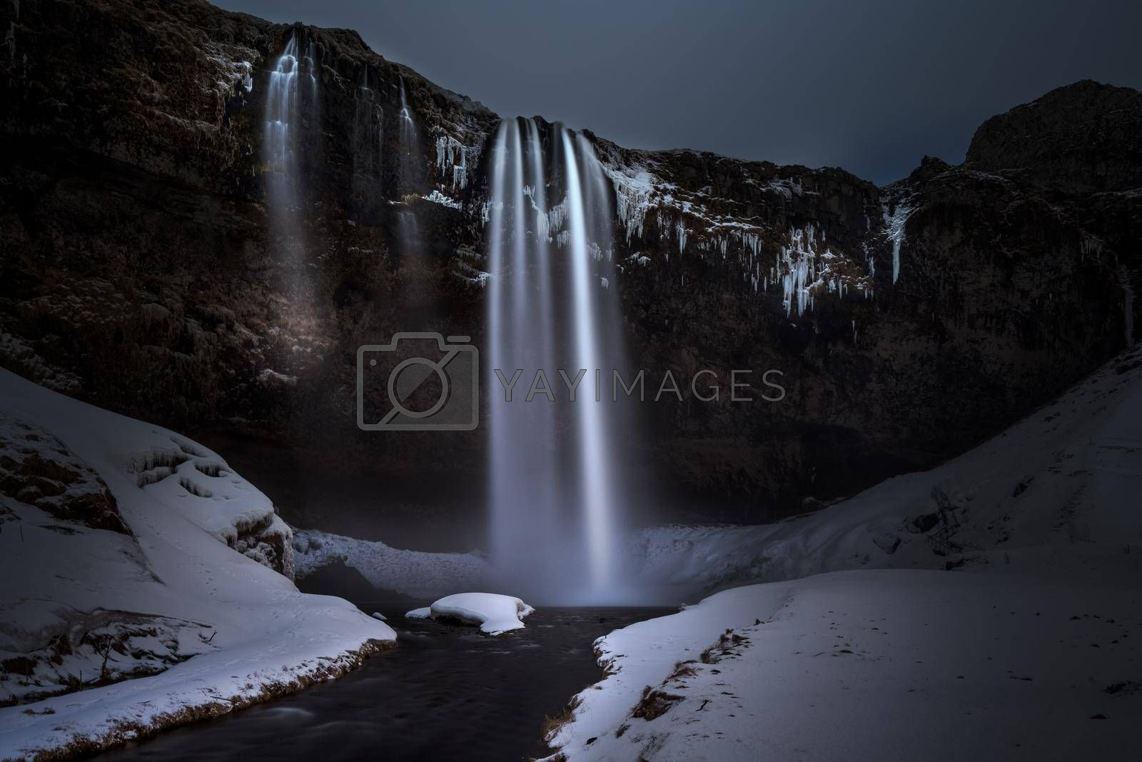 Amazing Landscape of a Seljalandsfoss Waterfall. Travel Destination. Winter Season. Beautiful Nature of Iceland.