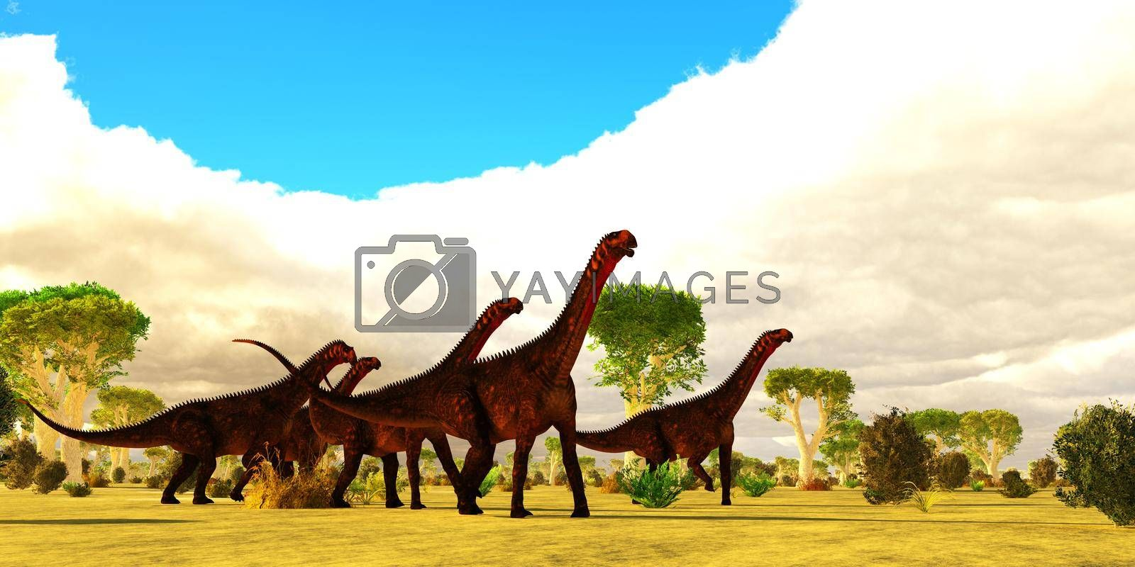 Royalty free image of Mierasaurus Dinosaur Herd by Catmando