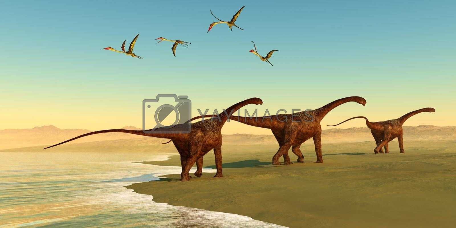 Quetzalcoatlus reptiles fly out to sea as a herd of Malawisaurus dinosaurs go in search of vegetation to eat.