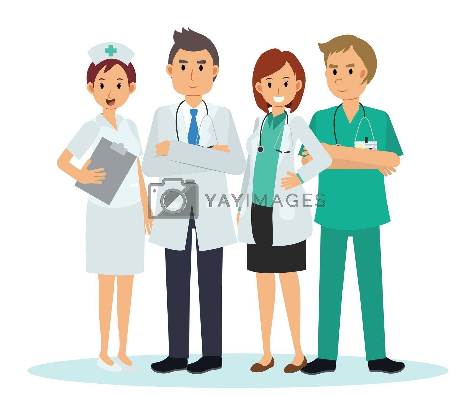 Vector illustration cartoon character of Medical Team and staff ,Doctor Nurse