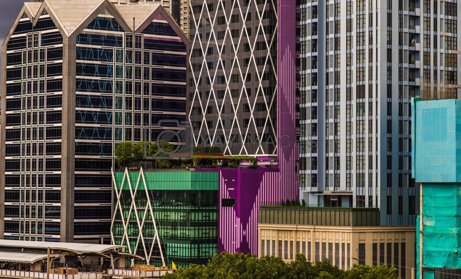 Detail of Modern Office building in downtown Bangkok. Modern architecture building background good for patterns and backgrounds. Selective focus.