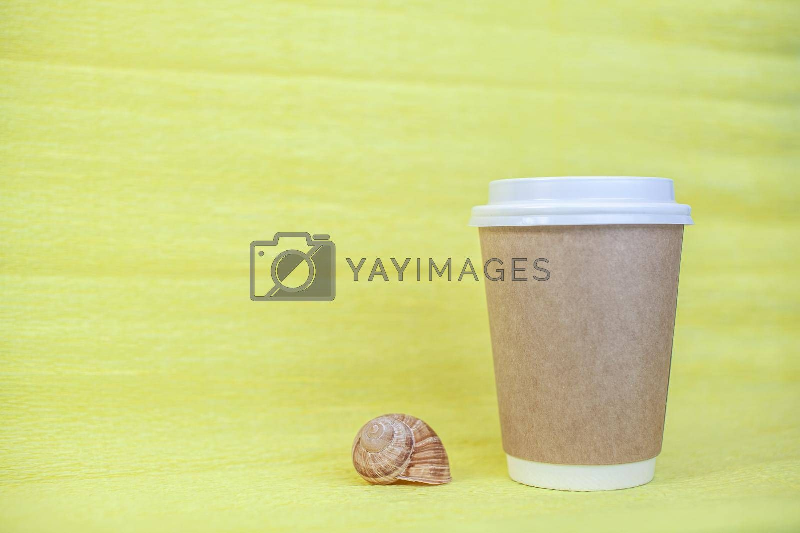 Royalty free image of paper cup of coffee covered with a white lid and next to it sea shells by AnatoliiFoto