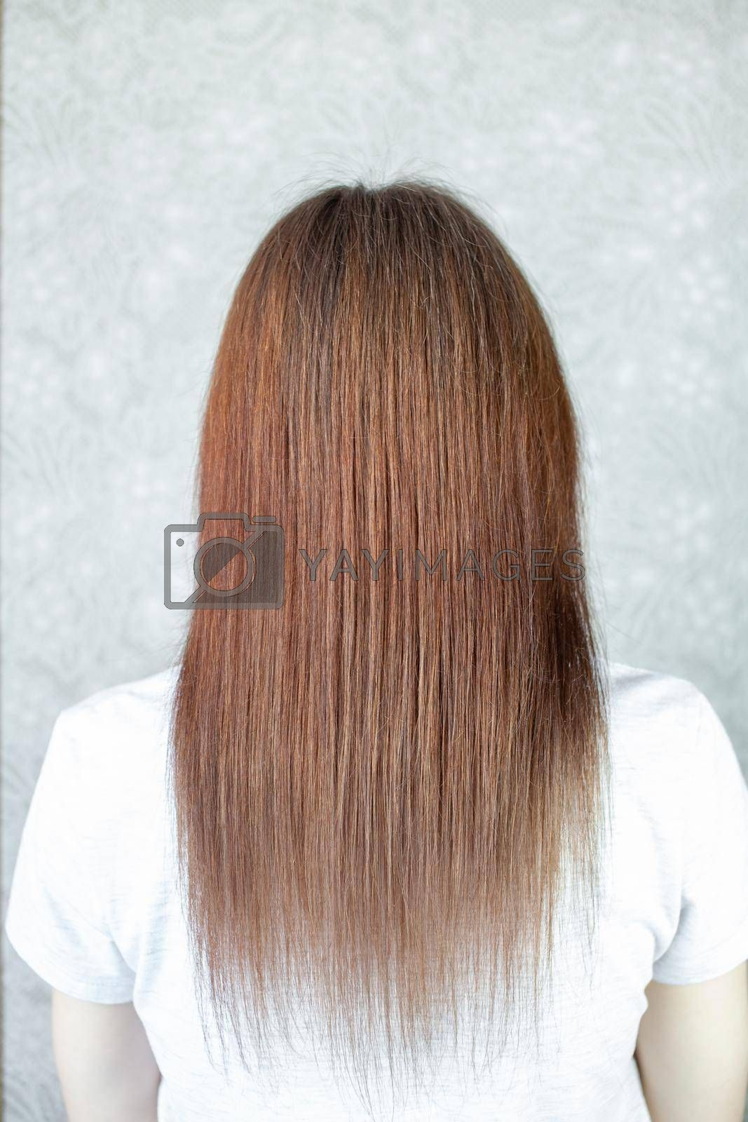 A girl with long, straight and beautiful brown hair. Hair care at home by AnatoliiFoto
