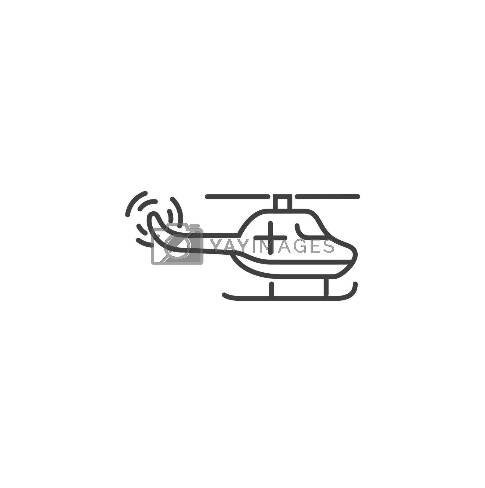 Emergency Helicopter Thin Line Vector Icon. Flat Icon Isolated on the Black Background. Editable Stroke EPS file. Vector illustration.