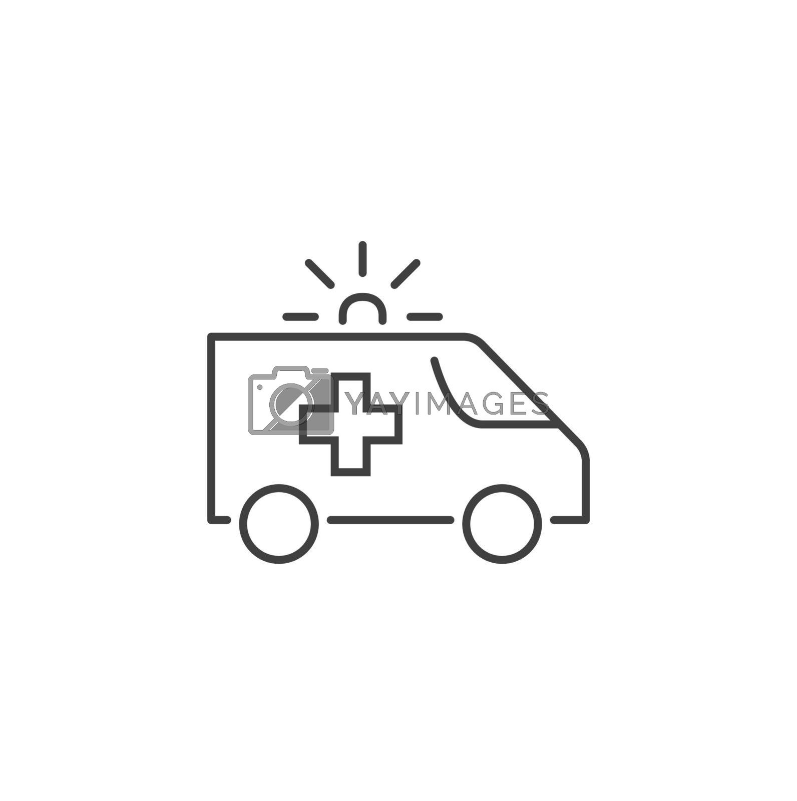 Ambulance Car Thin Line Vector Icon. Flat Icon Isolated on the Black Background. Editable Stroke EPS file. Vector illustration.
