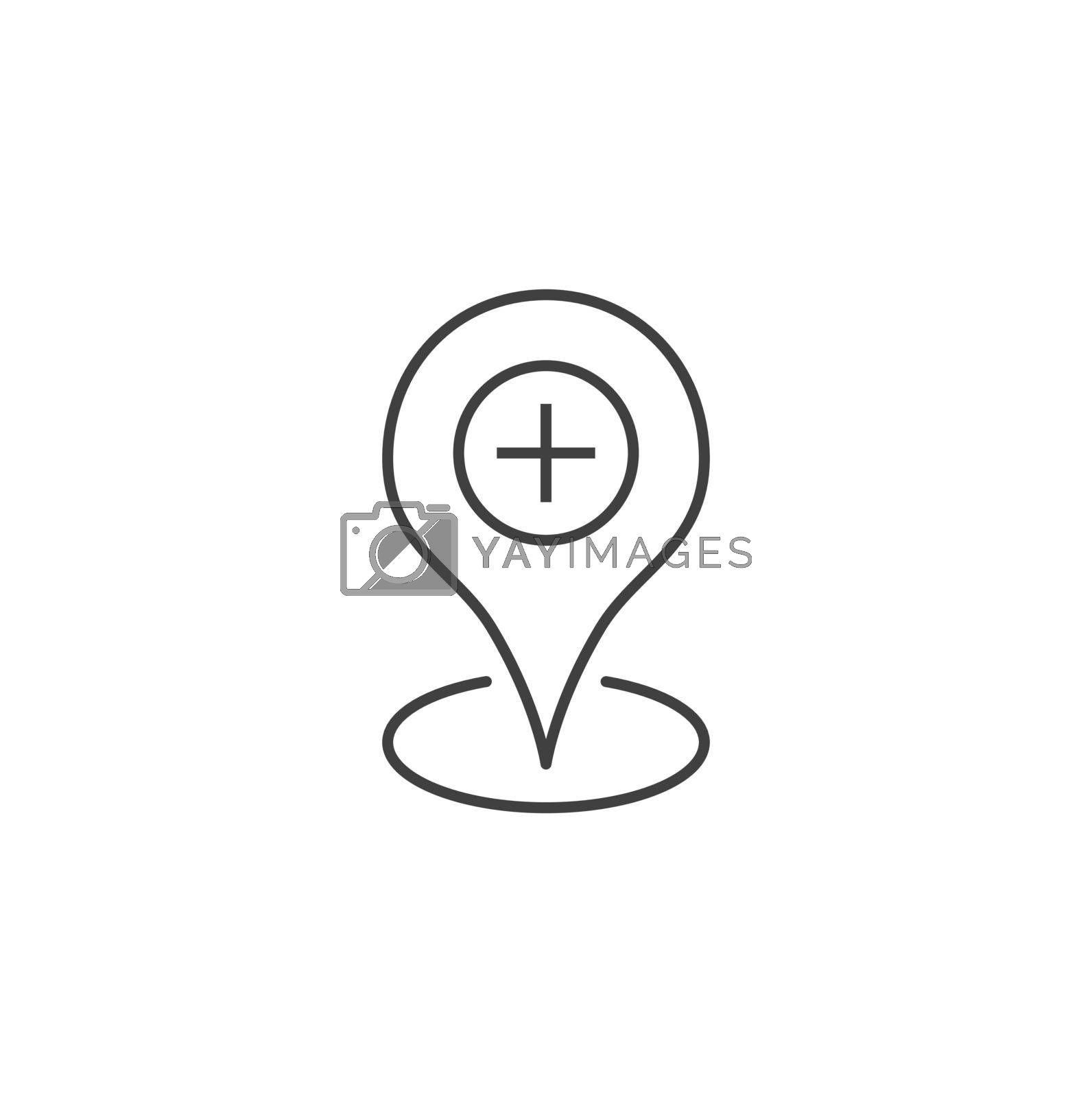 Hospital location Thin Line Vector Icon. Flat Icon Isolated on the Black Background. Editable Stroke EPS file. Vector illustration.