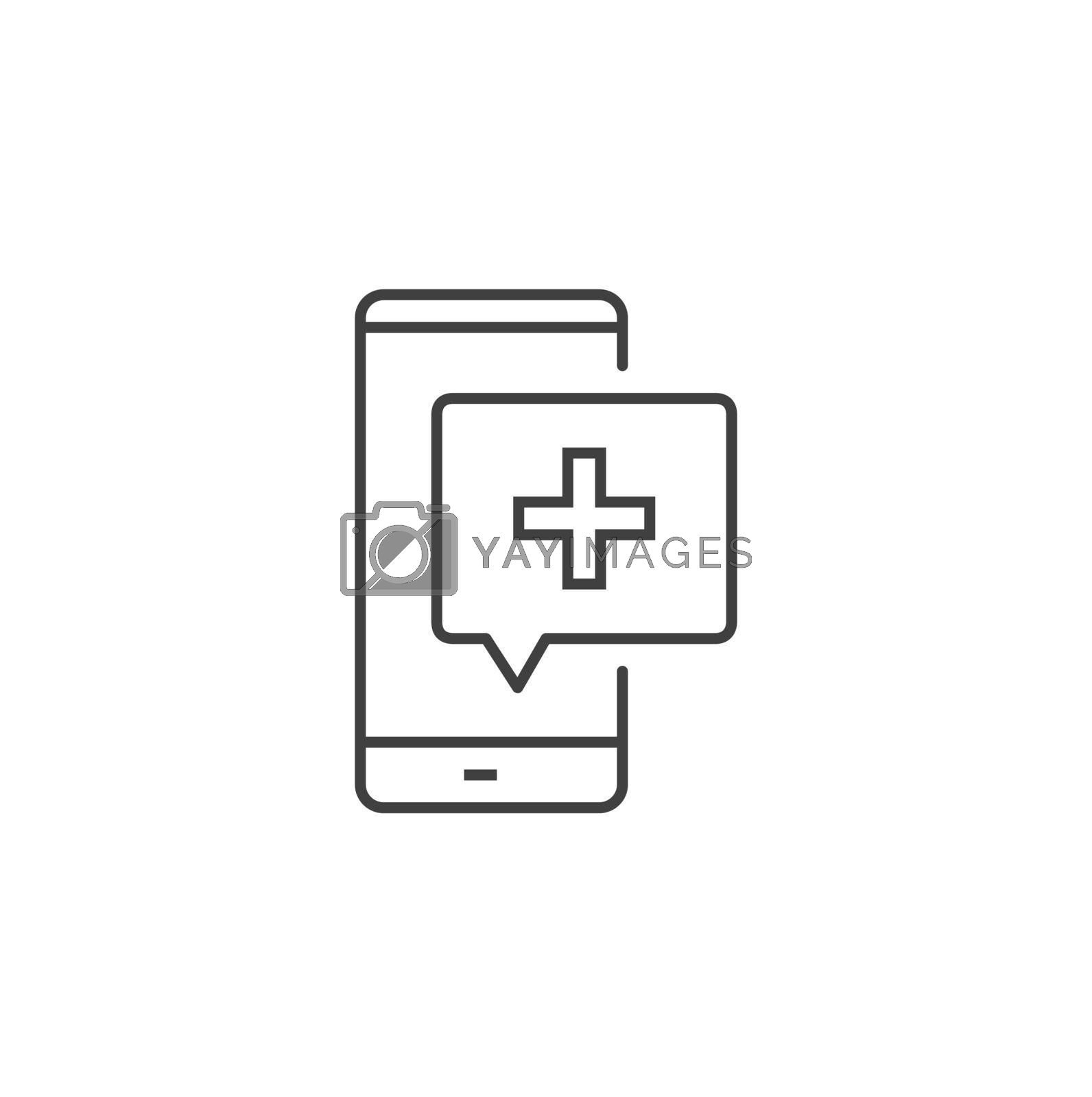 Telemedicine Thin Line Related Vector Icon. Flat Icon Isolated on the Black Background. Editable Stroke EPS file. Vector illustration. Online medical support. Medical Consultation Message.