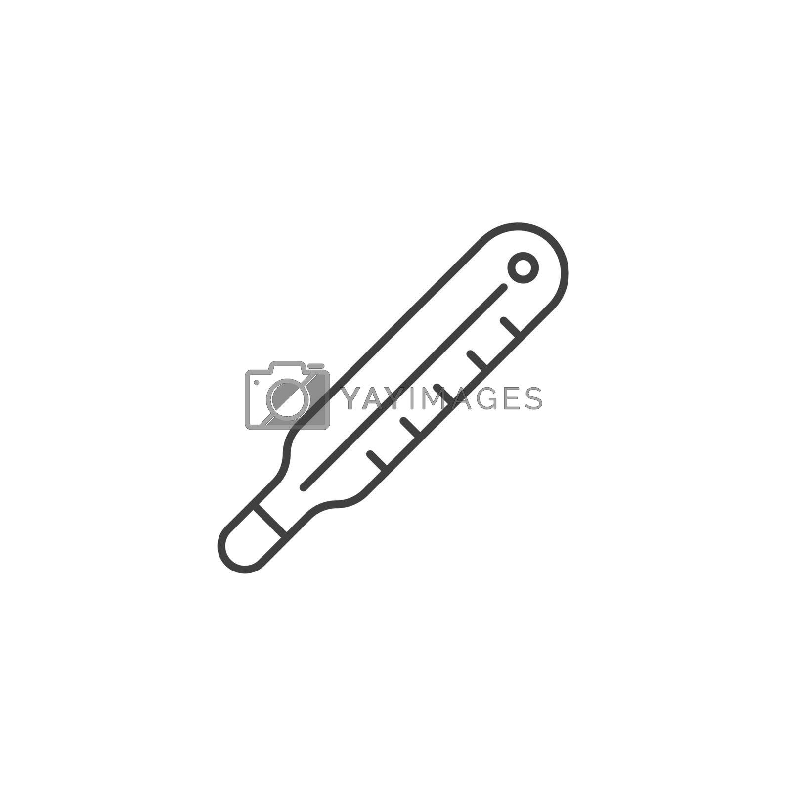 Thermometer Thin Line Related Vector Icon. Flat Icon Isolated on the Black Background. Editable Stroke EPS file. Vector illustration.