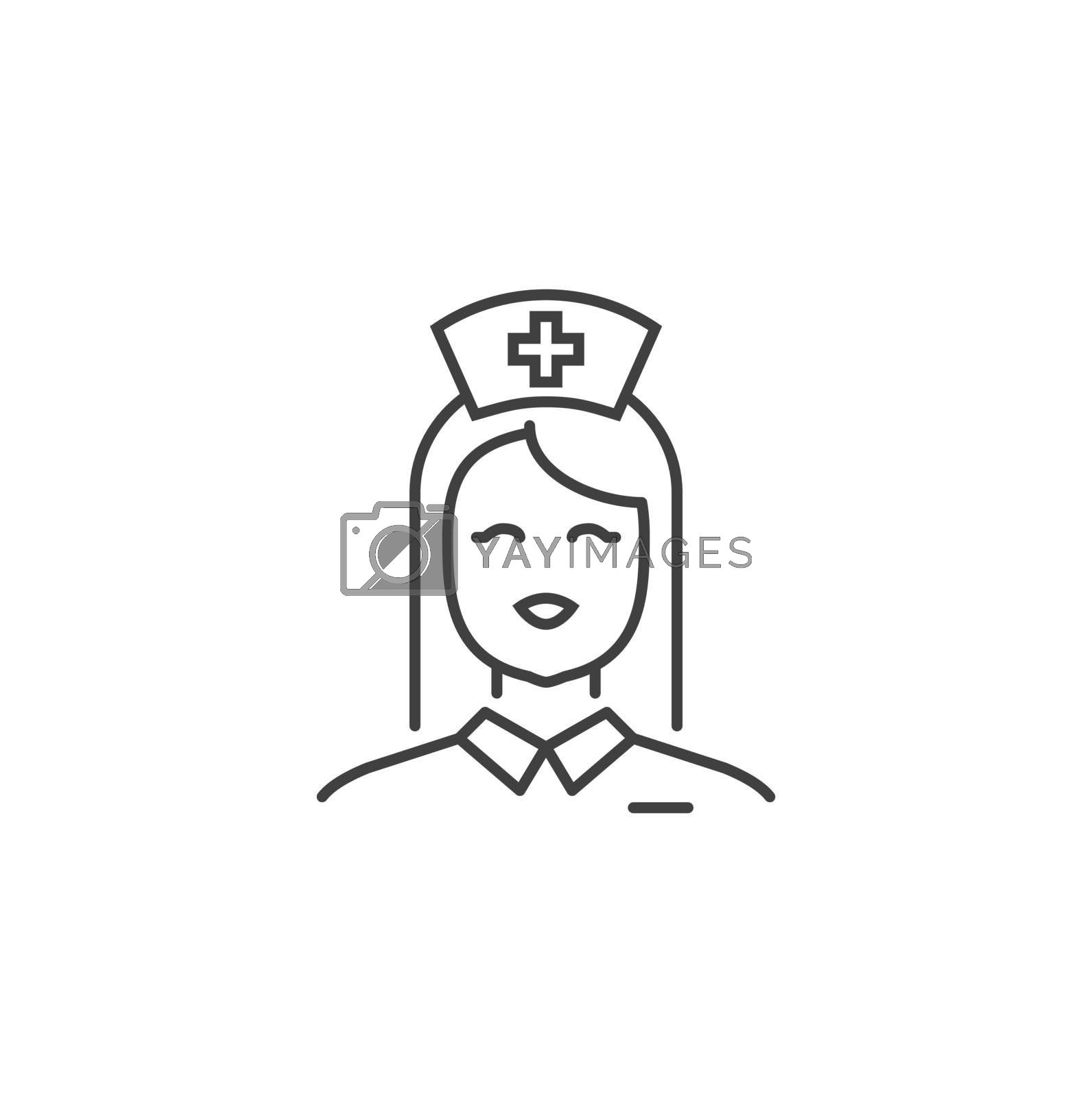 Nurse Thin Line Related Vector Icon. Flat Icon Isolated on the Black Background. Editable Stroke EPS file. Vector illustration.