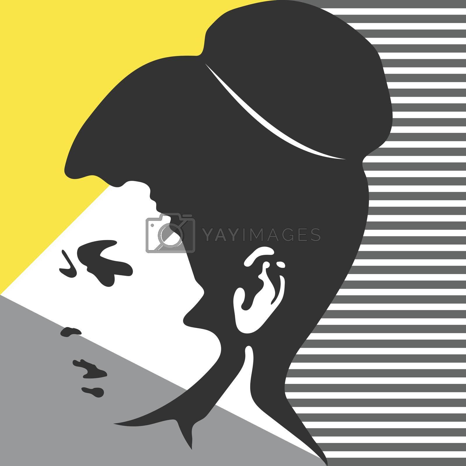 Fashion woman portrait. Vector silhouette. Art Illustration.