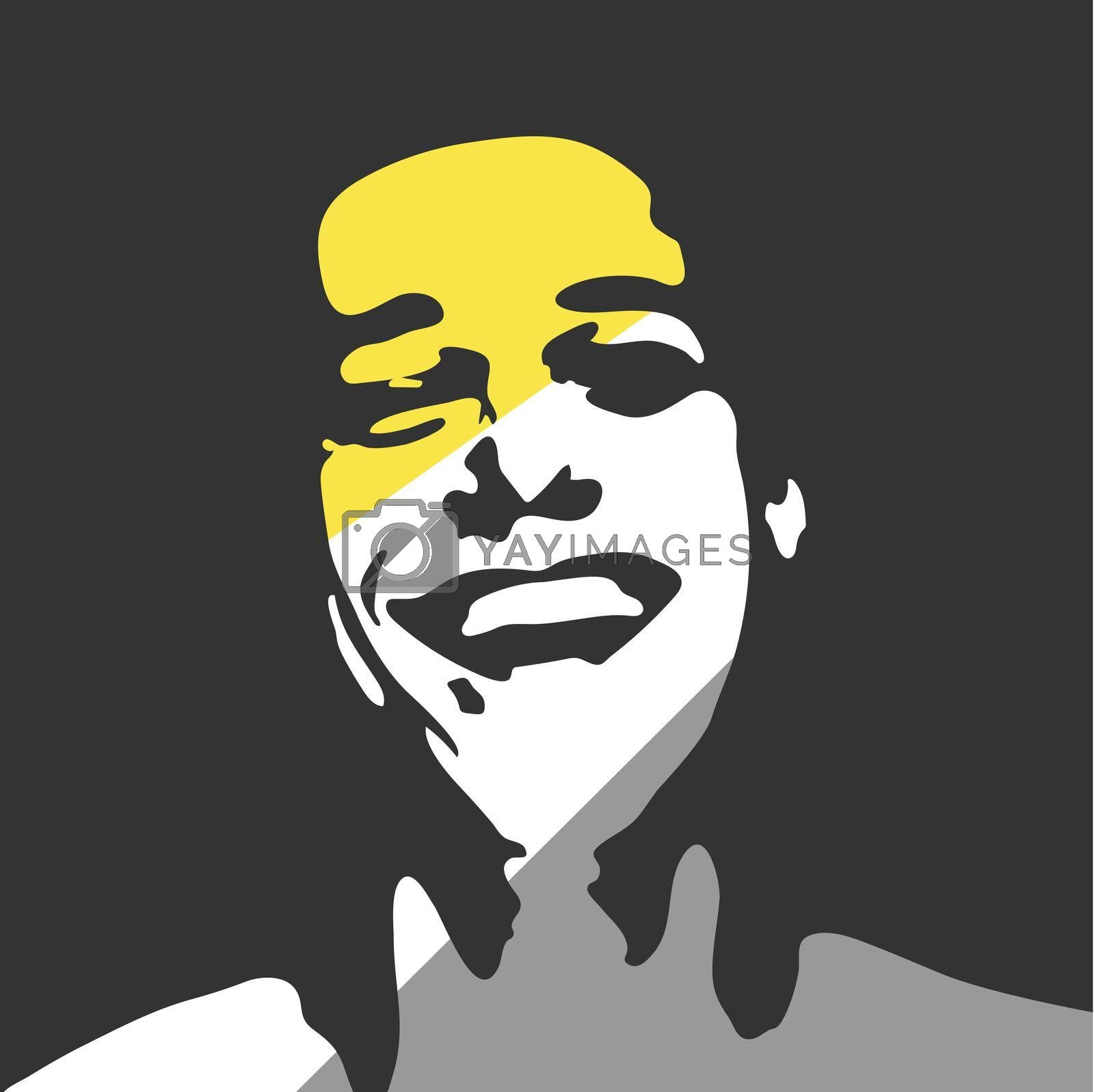 Happy man portrait. Vector silhouette Art Illustration.