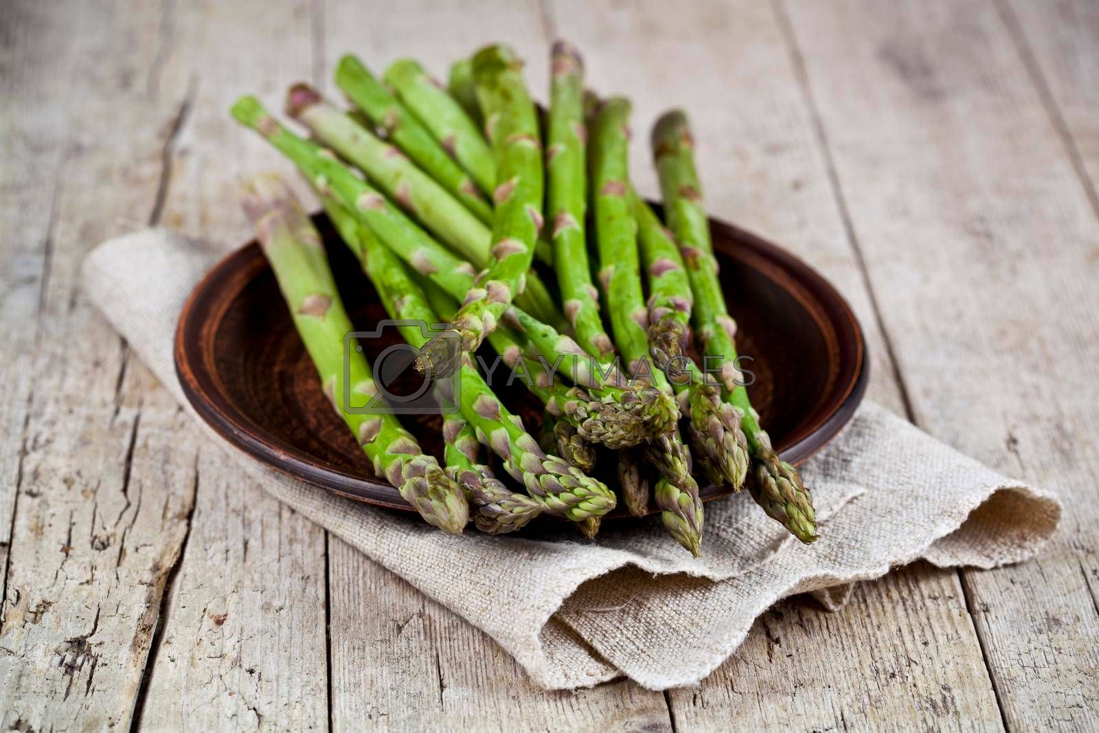 Fresh raw garden asparagus closeup on brown ceramic plate and linen napkin on rustic wooden table background. Green spring vegetables. Edible sprouts of asparagus.