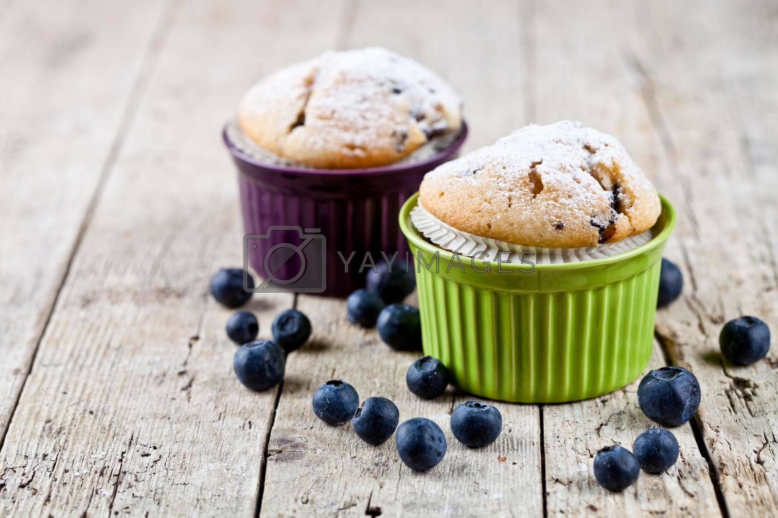 Two homemade fresh muffins on ceramic green and purple bowls with blueberries on rustic wooden table background. With copy space.