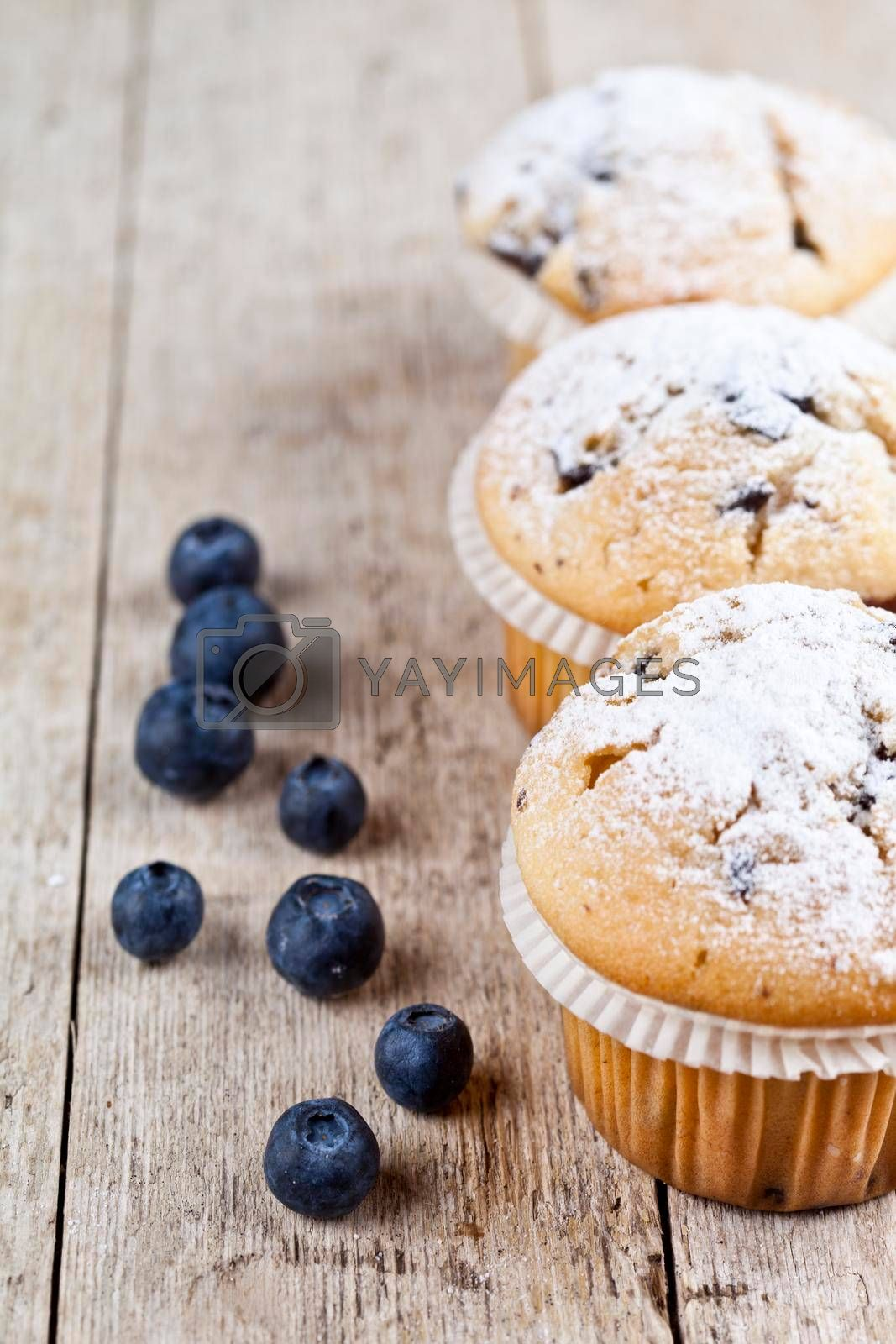 Homemade fresh muffins with blueberries on rustic wooden table background. With copy space.