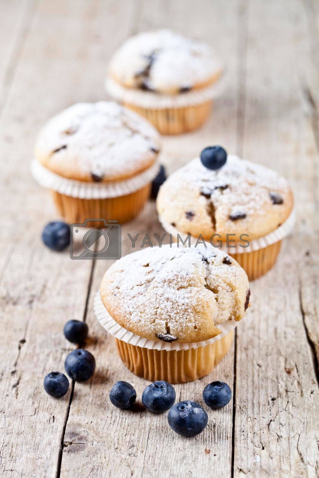 Four fresh homemade muffins with blueberries on rustic wooden table background.
