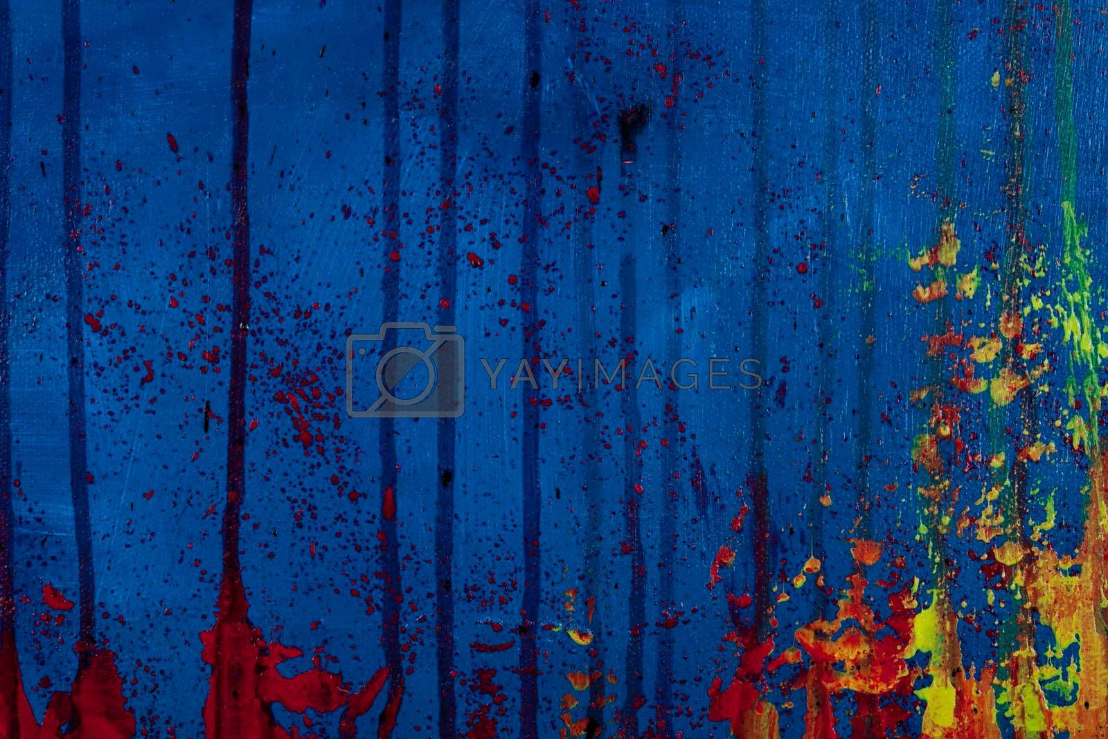Blue, red and yellow colored wall texture background. Decorative wall paint.