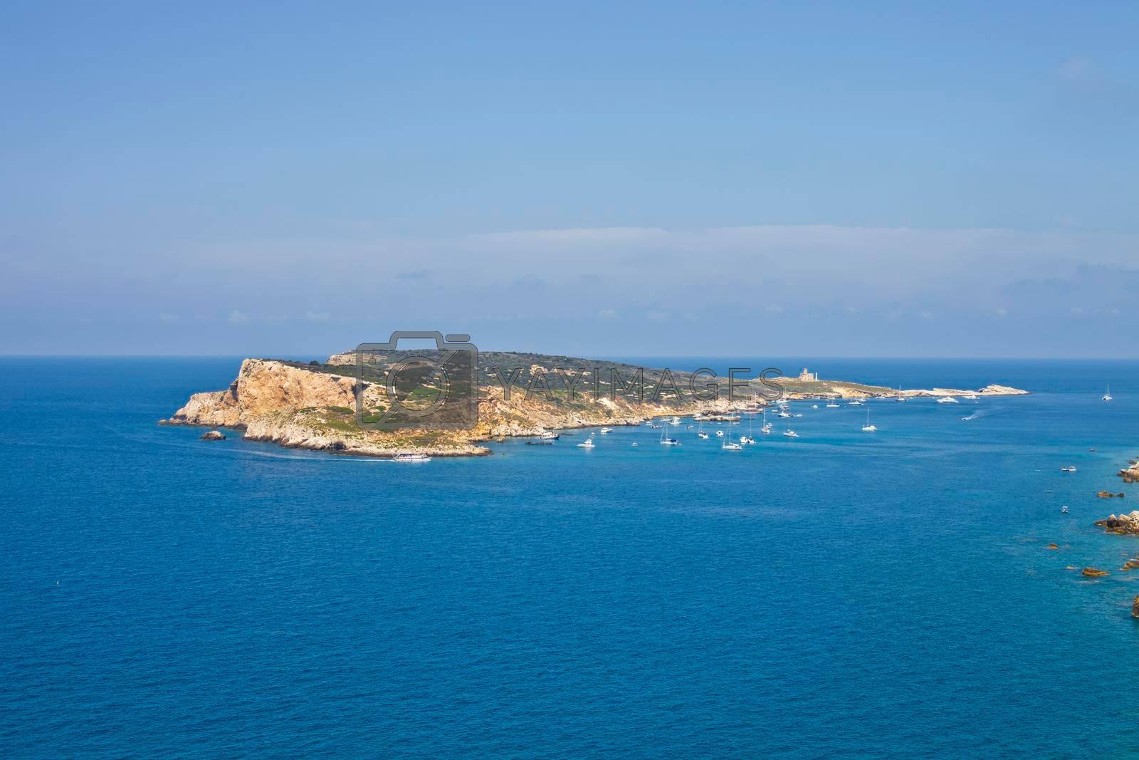 View of the Tremiti Islands. Capraia Island, Italy: scenic view of tipycal rocky coastline. Adriatic Sea. Puglia, Italy.