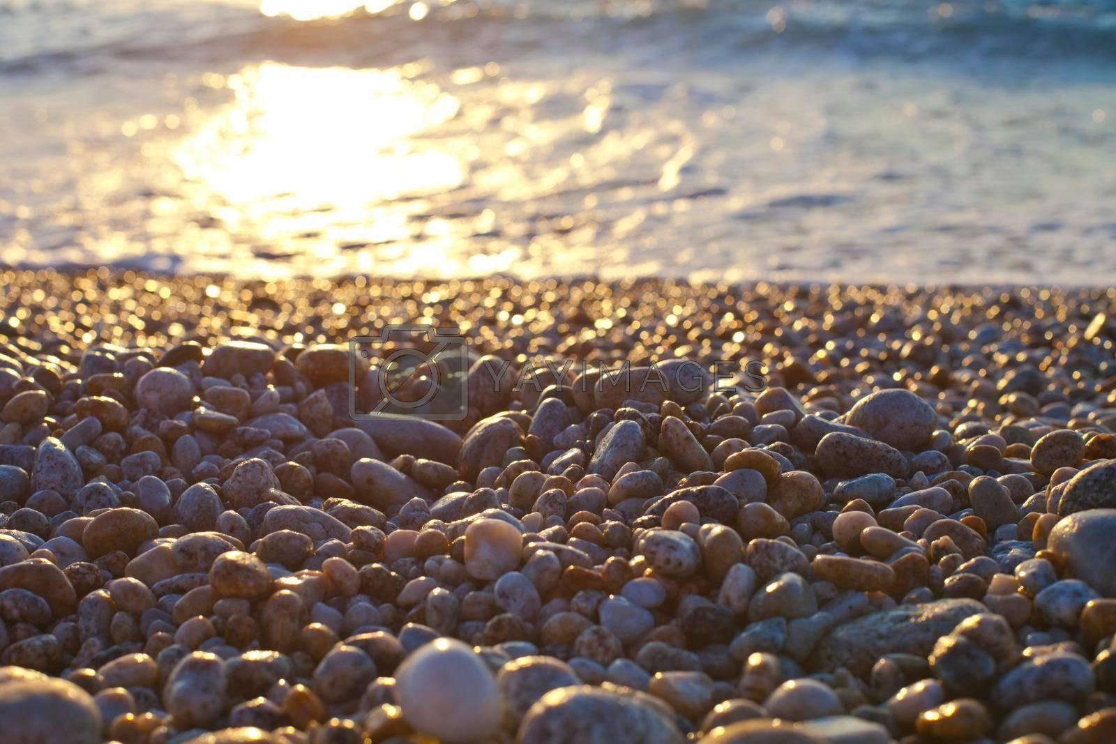 Beautiful seascape, amazing view of pebble coastline in mild sunset light, romantic evening on the beach.