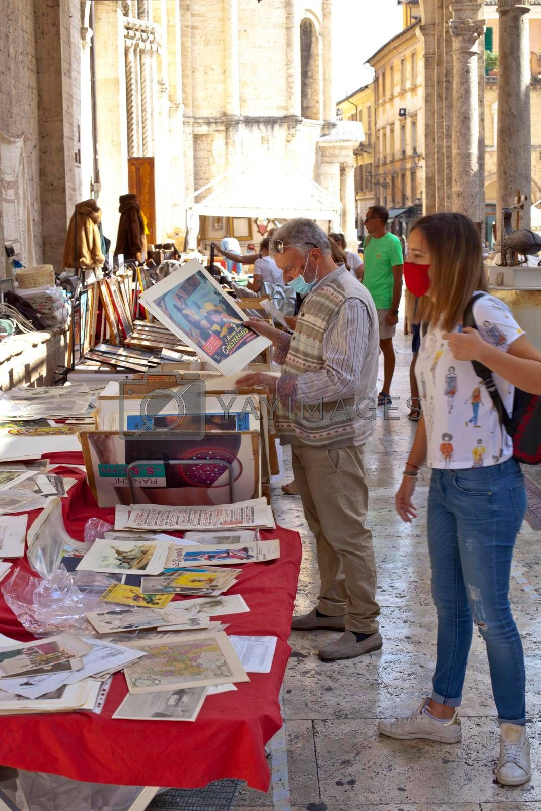Ascoli Piceno, Italy - September 20, 2020: Antiques and vintage market on the streets of Ascoli Piceno, large antique and vintage market.