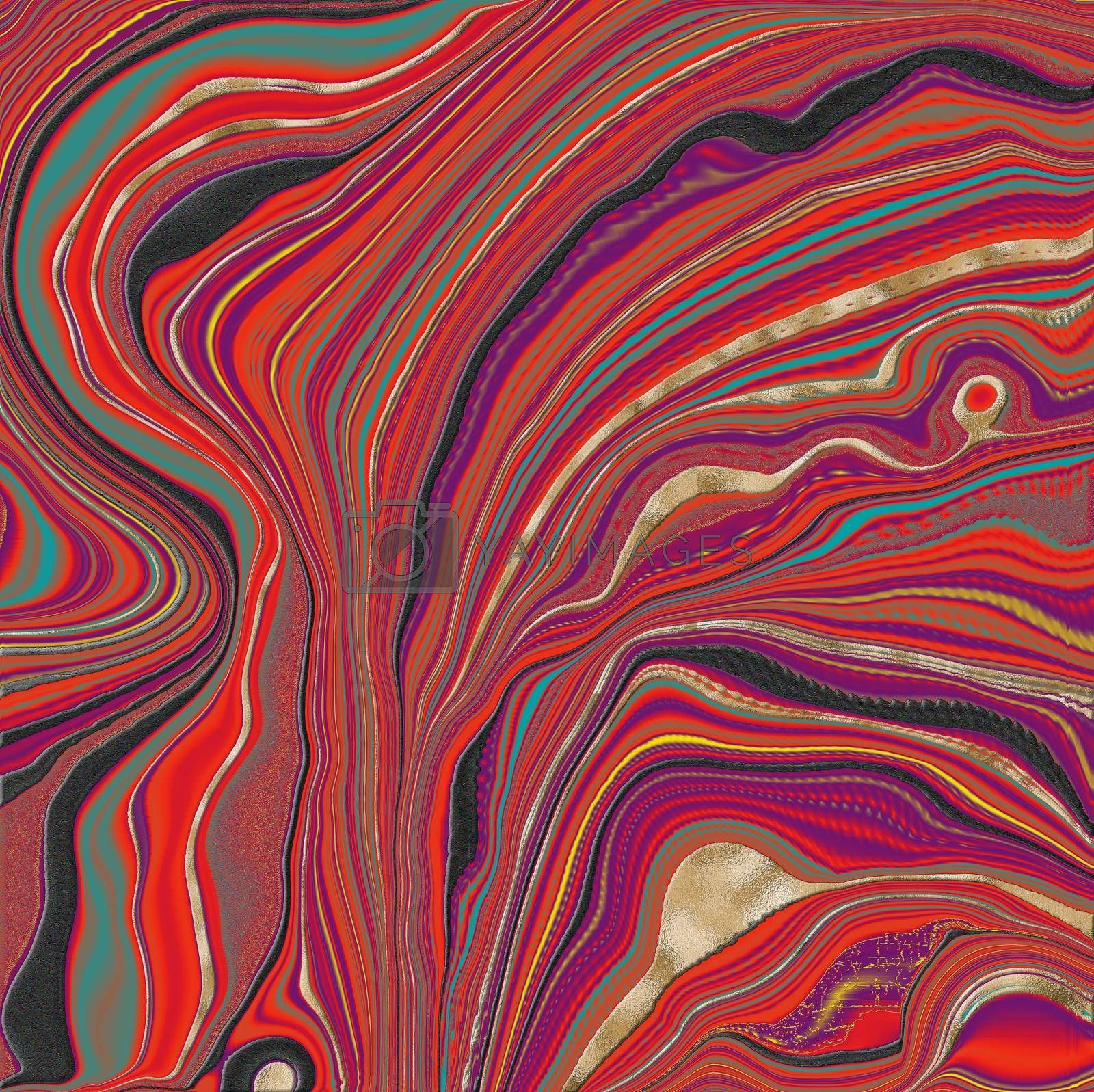 Beautiful red marble agate with golden veins. Abstract marbling agate texture and shiny gold background. Fluid marbling effect . illustration