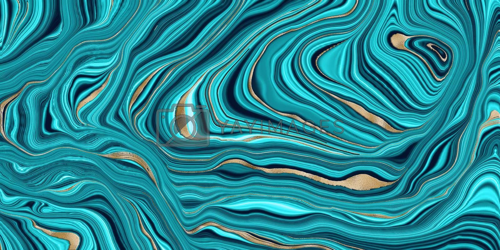 Agate Background in blue with golden vein. Agate stone texture with gold. Blue turquoise fluid marbling effect with golden glitter texture. Illustration