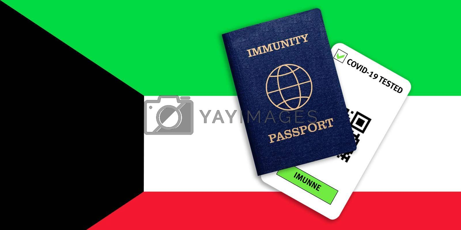 Concept of Immunity passport, certificate for traveling after pandemic for people who have had coronavirus or made vaccine and test result for COVID-19 on flag of Kuwait
