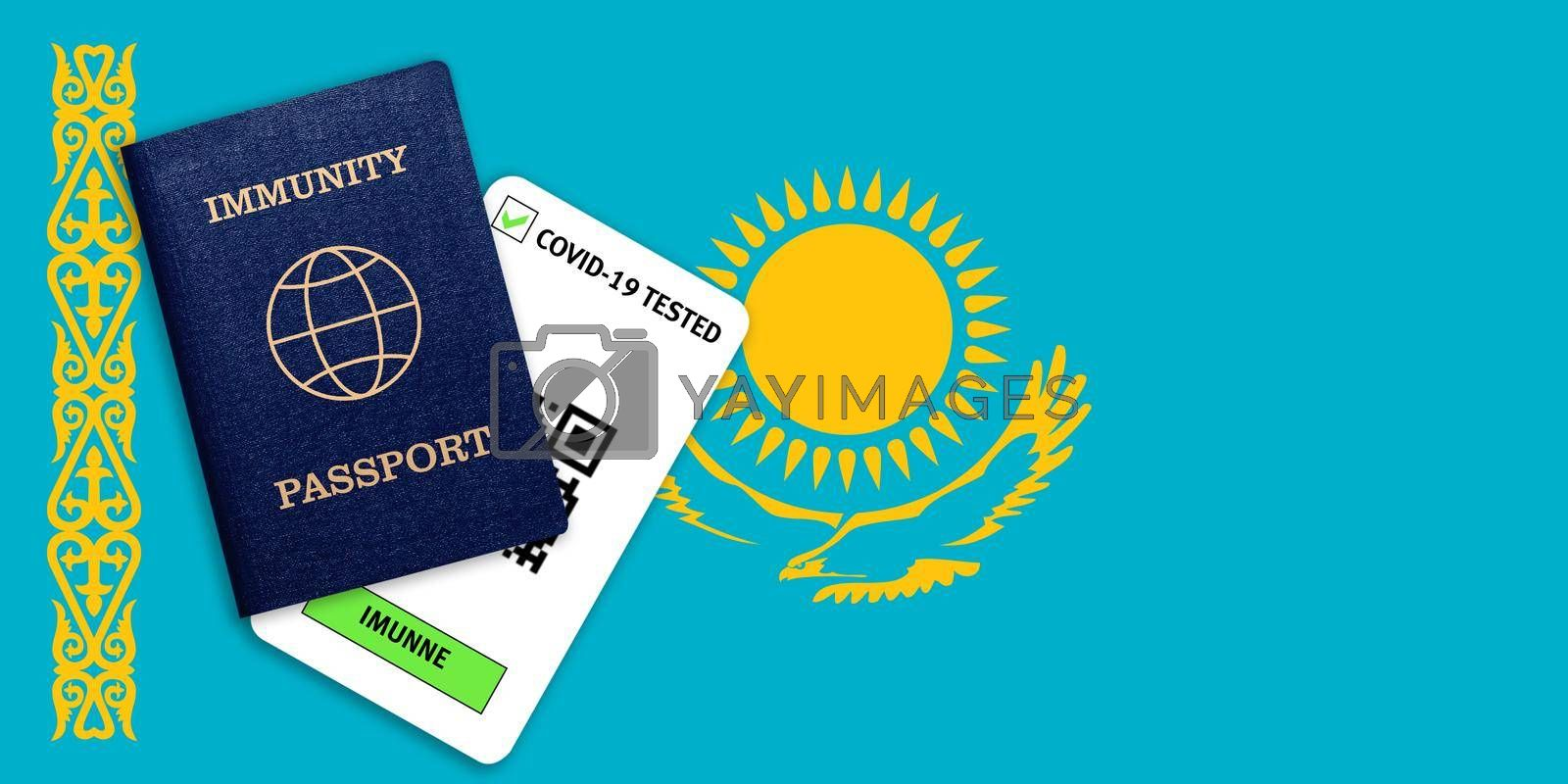 Concept of Immunity passport, certificate for traveling after pandemic for people who have had coronavirus or made vaccine and test result for COVID-19 on flag of Kazakhstan