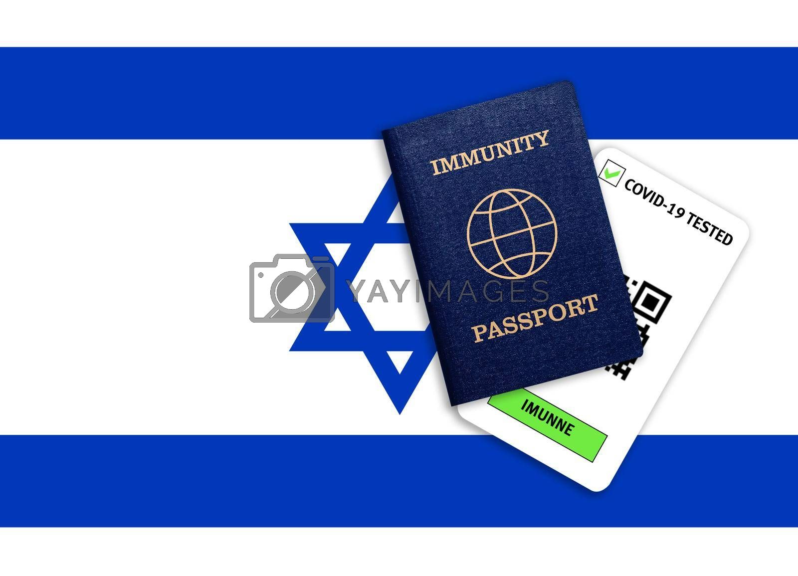Concept of Immunity passport, certificate for traveling after pandemic for people who have had coronavirus or made vaccine and test result for COVID-19 on flag of Israel