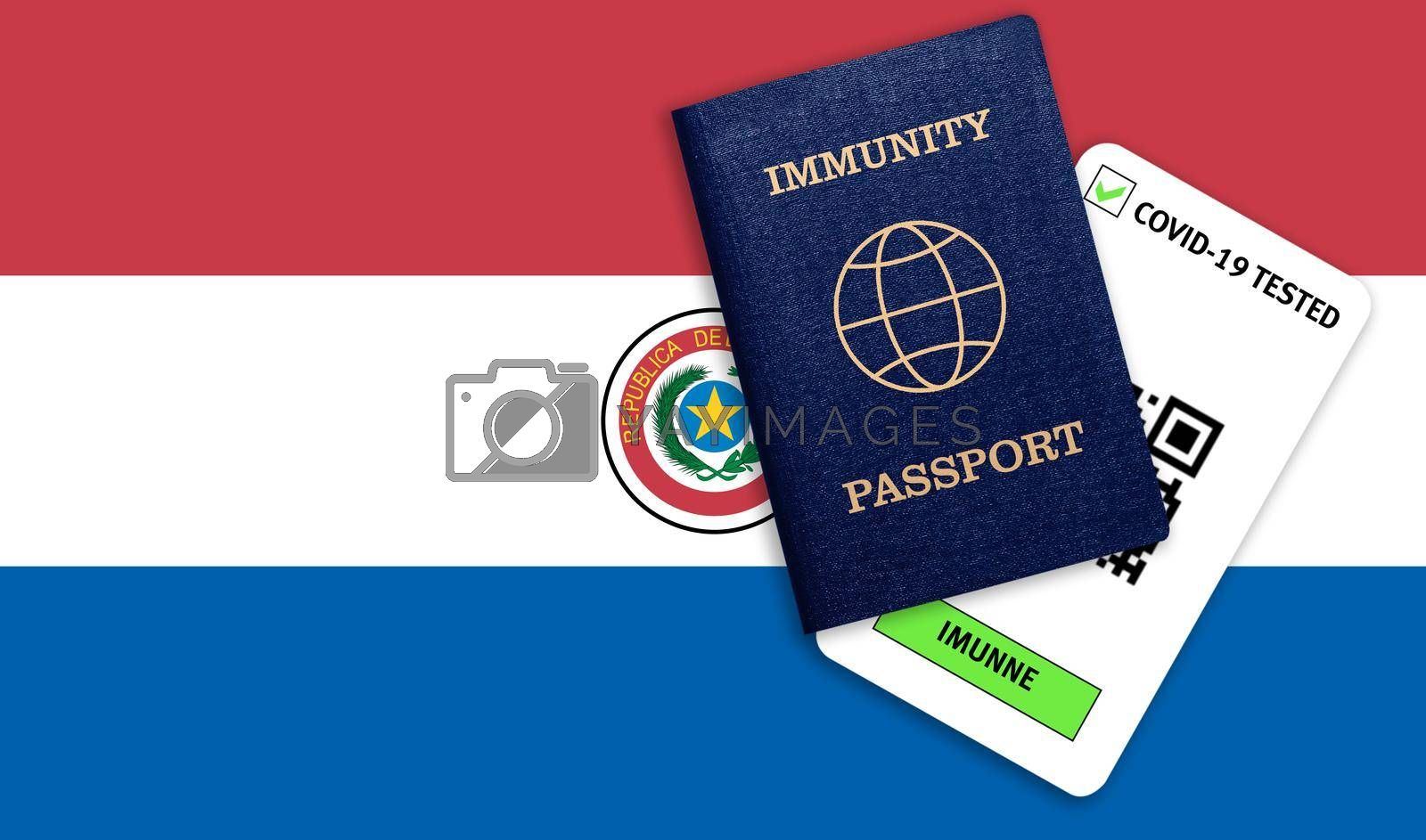 Concept of Immunity passport, certificate for traveling after pandemic for people who have had coronavirus or made vaccine and test result for COVID-19 on flag of Paraguay