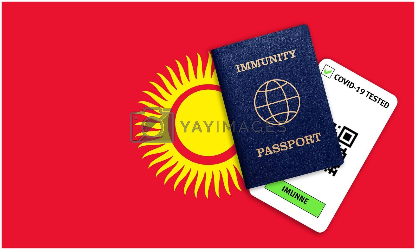Concept of Immunity passport, certificate for traveling after pandemic for people who have had coronavirus or made vaccine and test result for COVID-19 on flag of Kyrgyzstan