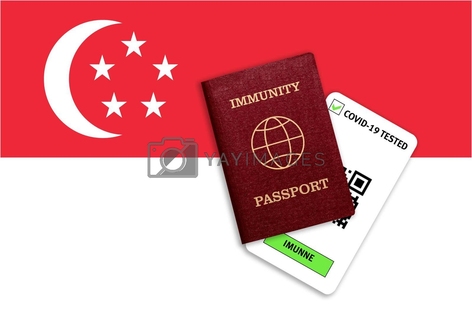 Concept of Immunity passport, certificate for traveling after pandemic for people who have had coronavirus or made vaccine and test result for COVID-19 on flag of Singapore