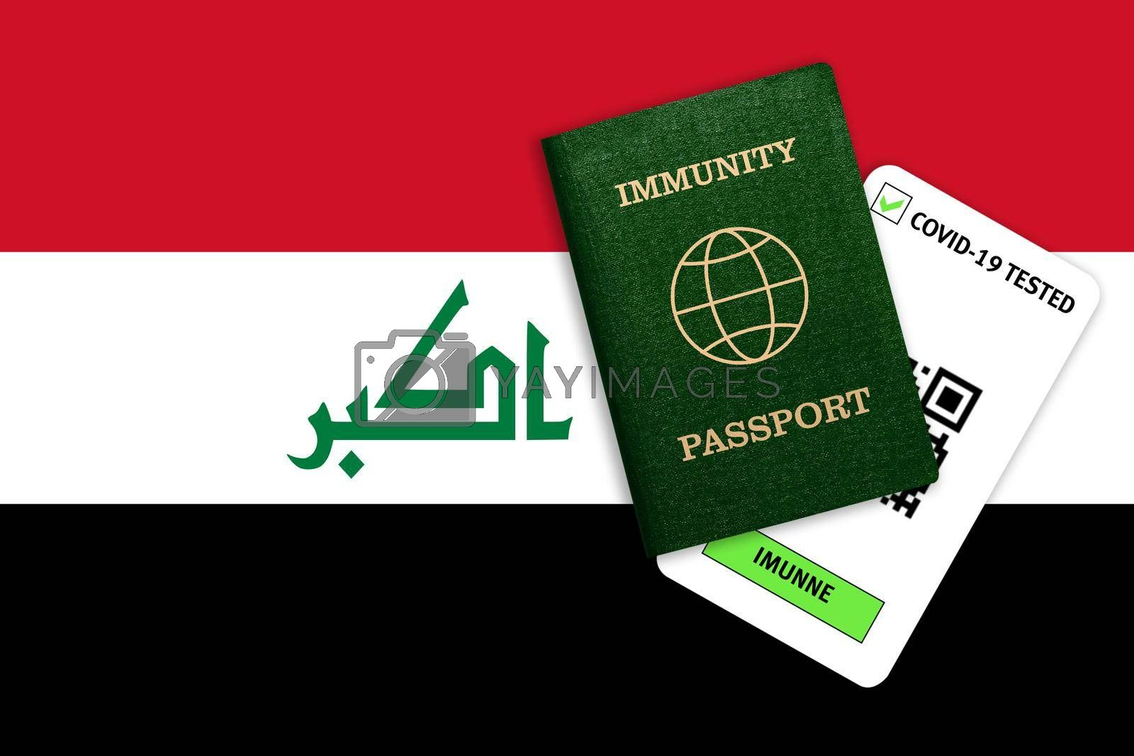 Concept of Immunity passport, certificate for traveling after pandemic for people who have had coronavirus or made vaccine and test result for COVID-19 on flag of Iraq
