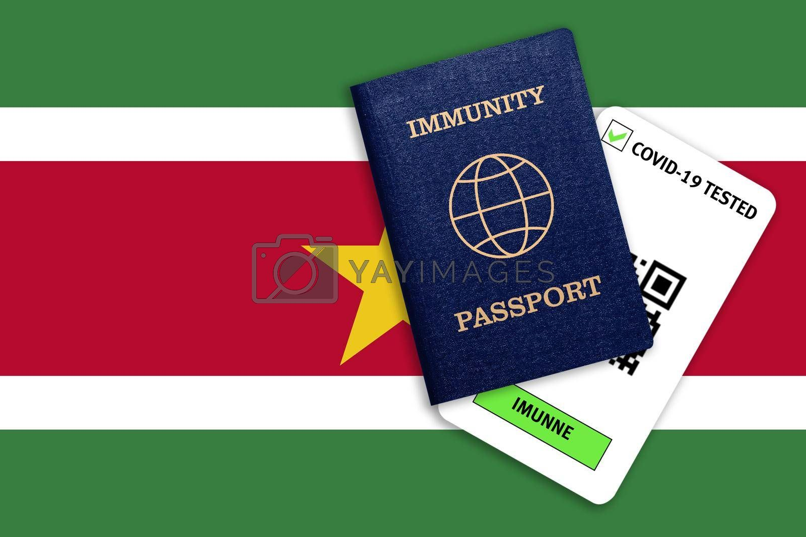 Concept of Immunity passport, certificate for traveling after pandemic for people who have had coronavirus or made vaccine and test result for COVID-19 on flag of Suriname