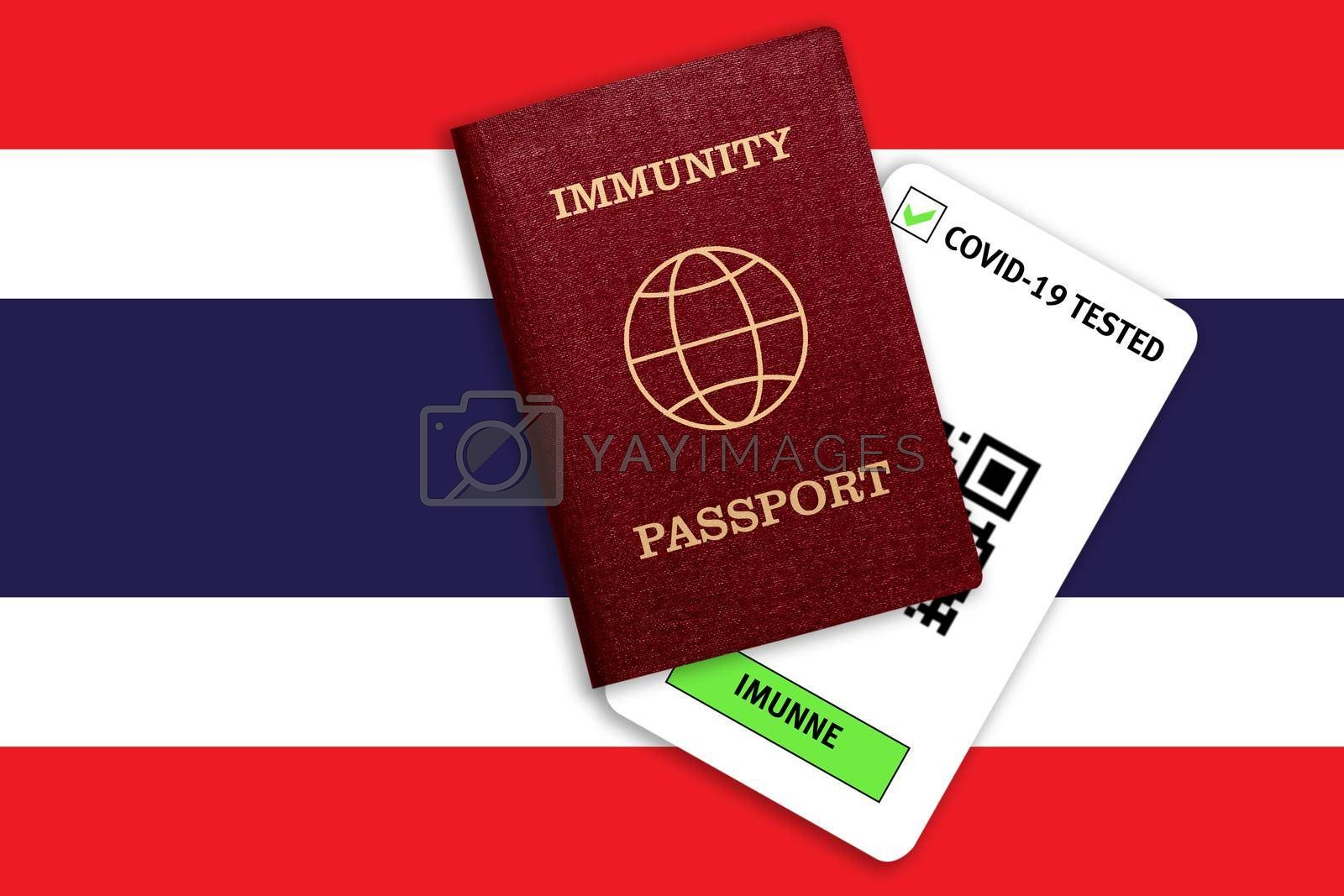 Concept of Immunity passport, certificate for traveling after pandemic for people who have had coronavirus or made vaccine and test result for COVID-19 on flag of Thailand