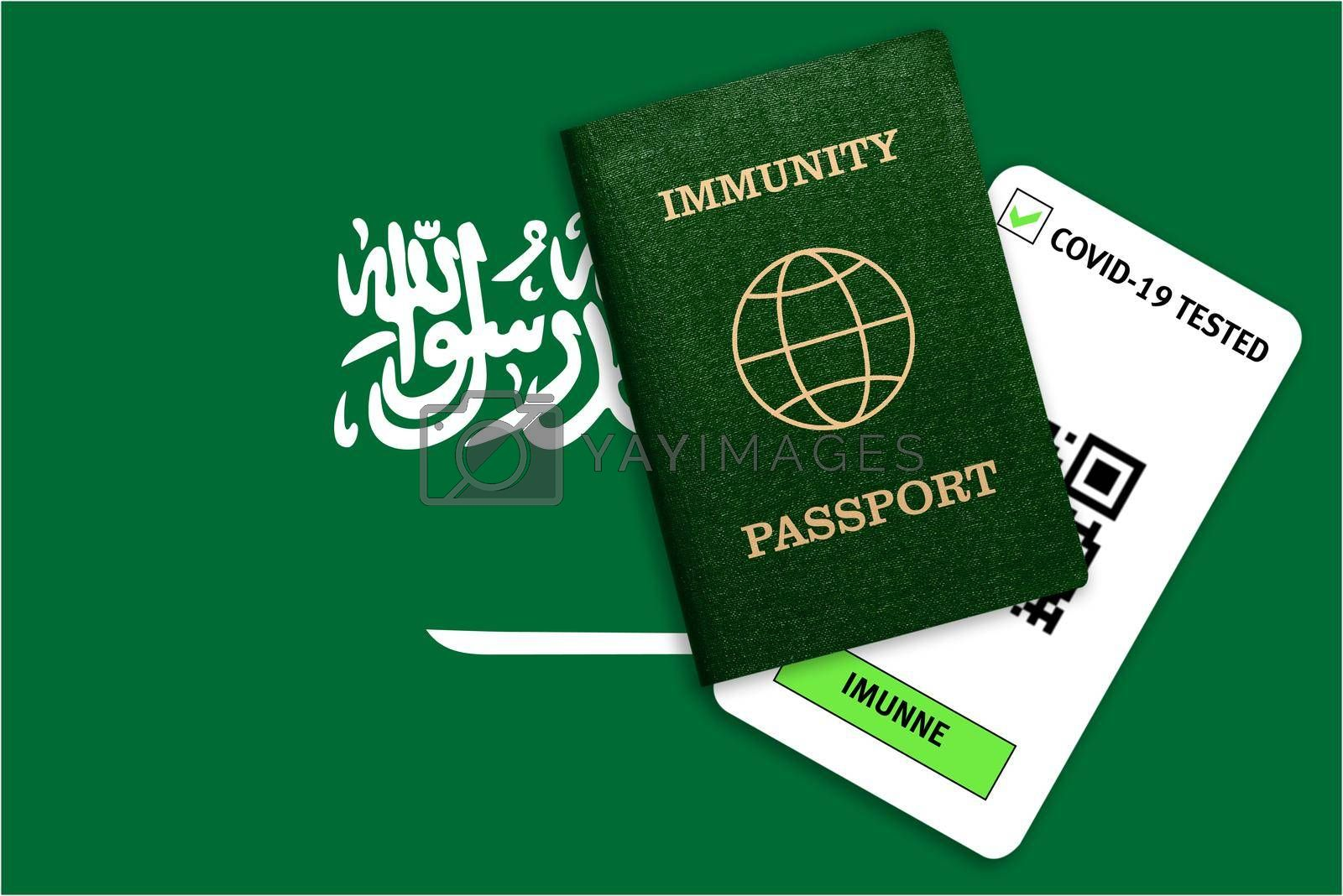 Concept of Immunity passport, certificate for traveling after pandemic for people who have had coronavirus or made vaccine and test result for COVID-19 on flag of Saudi Arabia
