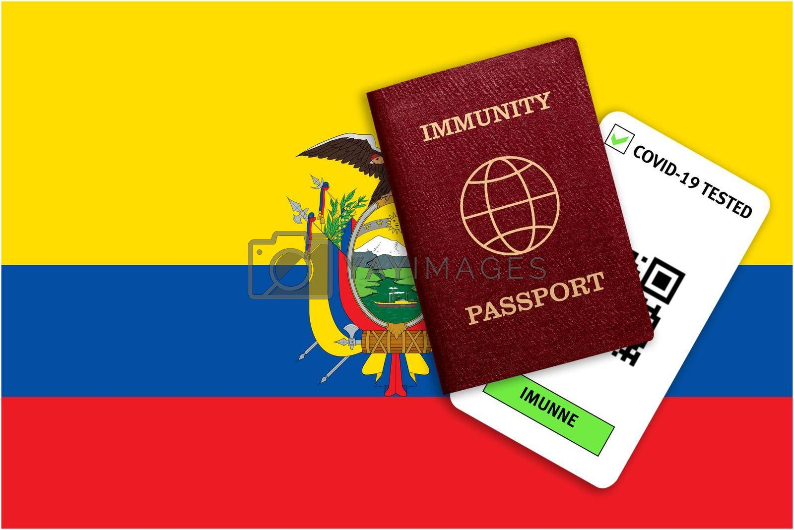 Concept of Immunity passport, certificate for traveling after pandemic for people who have had coronavirus or made vaccine and test result for COVID-19 on flag of Ecuador