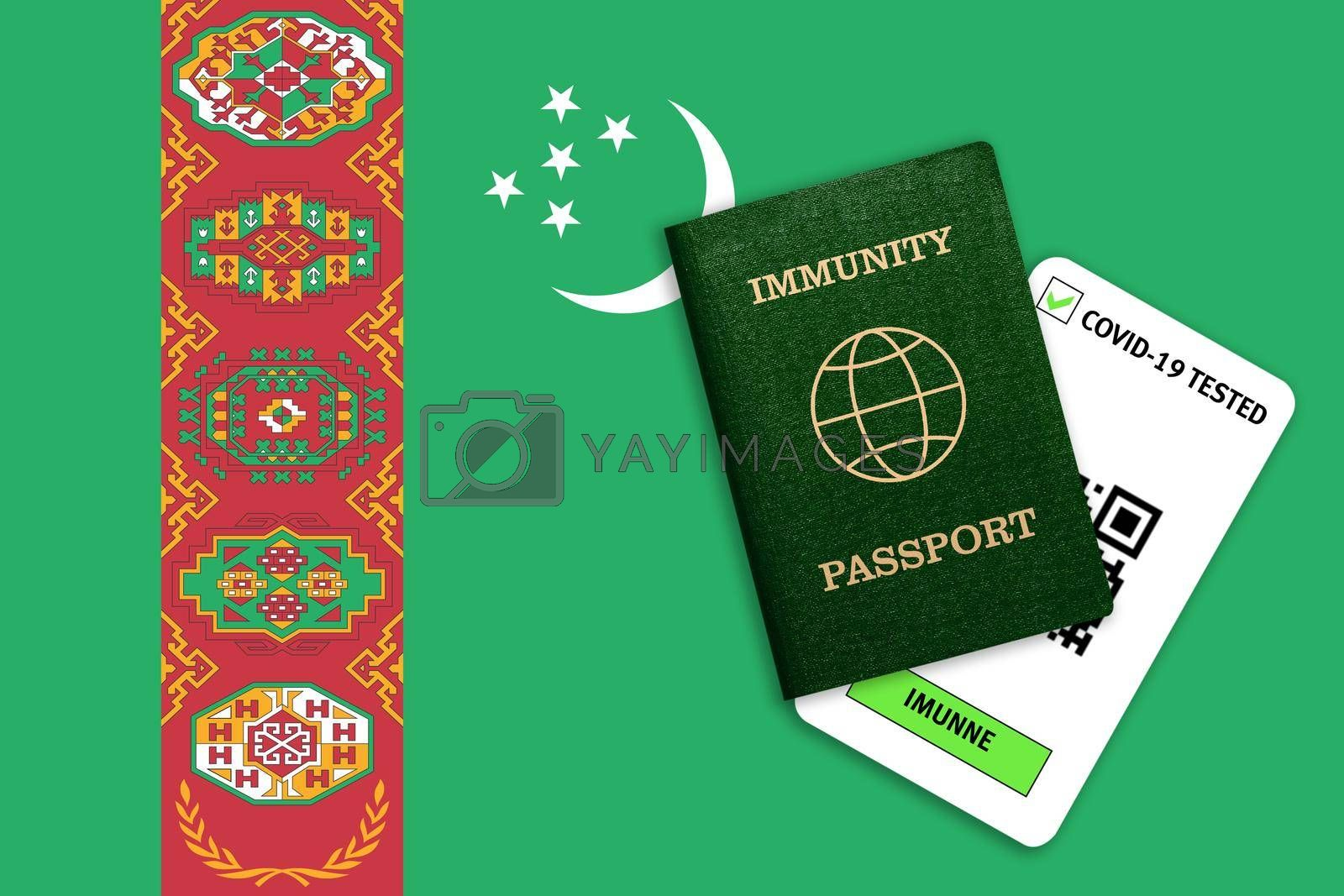 Concept of Immunity passport, certificate for traveling after pandemic for people who have had coronavirus or made vaccine and test result for COVID-19 on flag of Turkmenistan