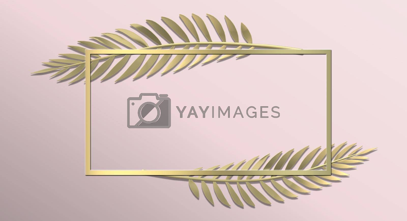 Botanical background. Abstract floral design in gold pink colour. Modern leaves design with frame for mock up. Horizontal 3D illustration