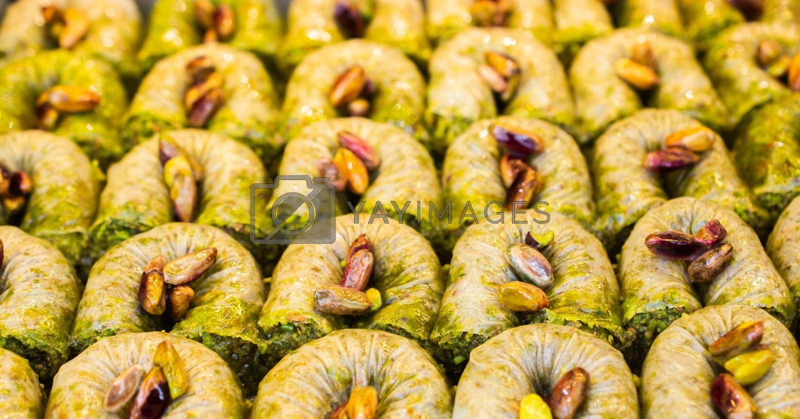 Traditional Turkish dessert Baklava from Istanbul Turkey