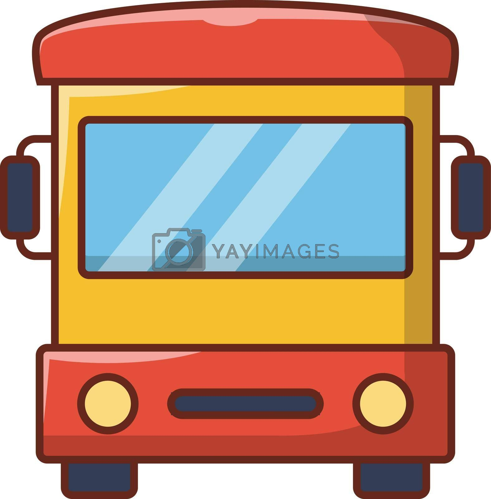 bus vector line flat icon