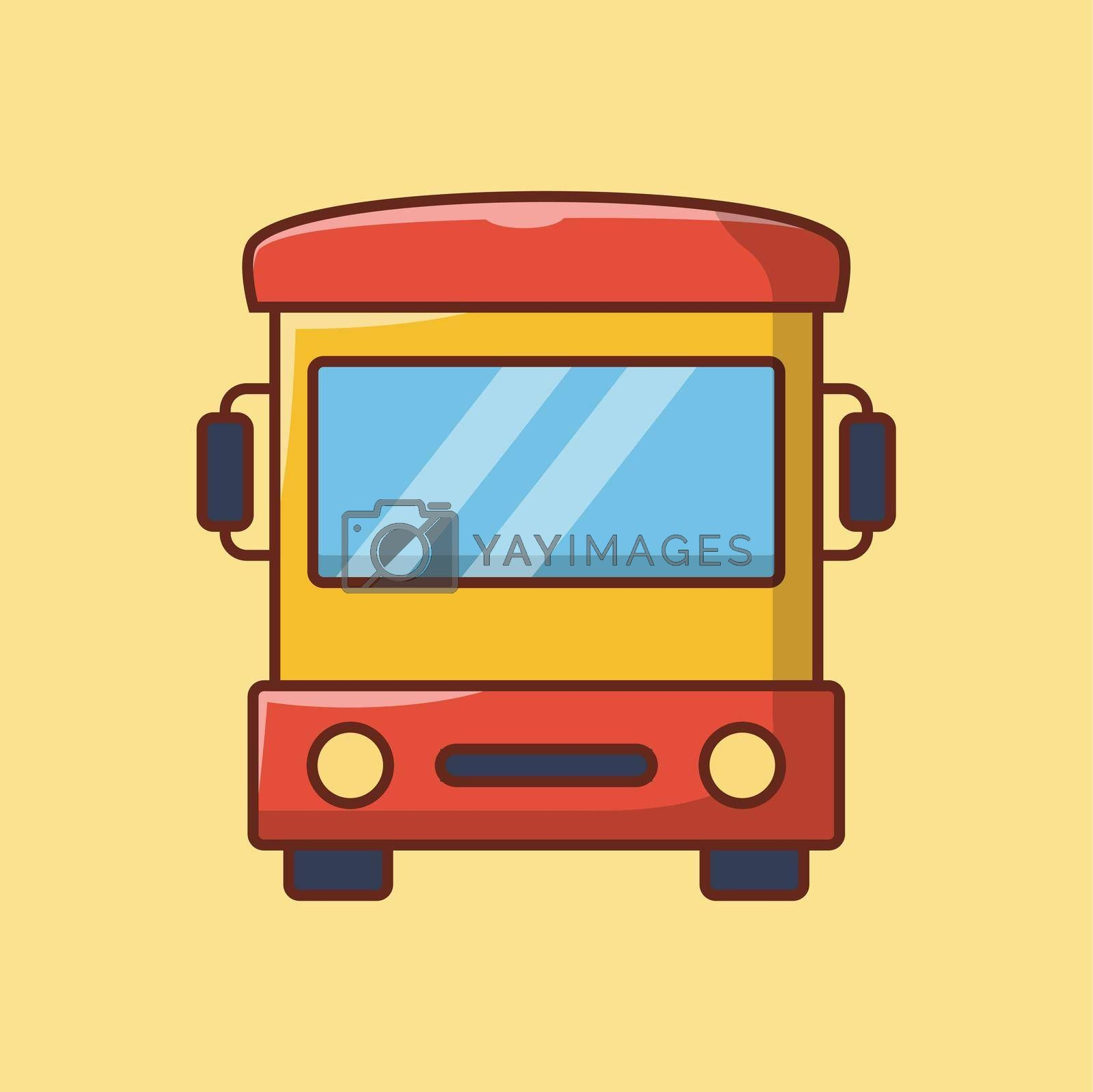 bus vector line flat icon