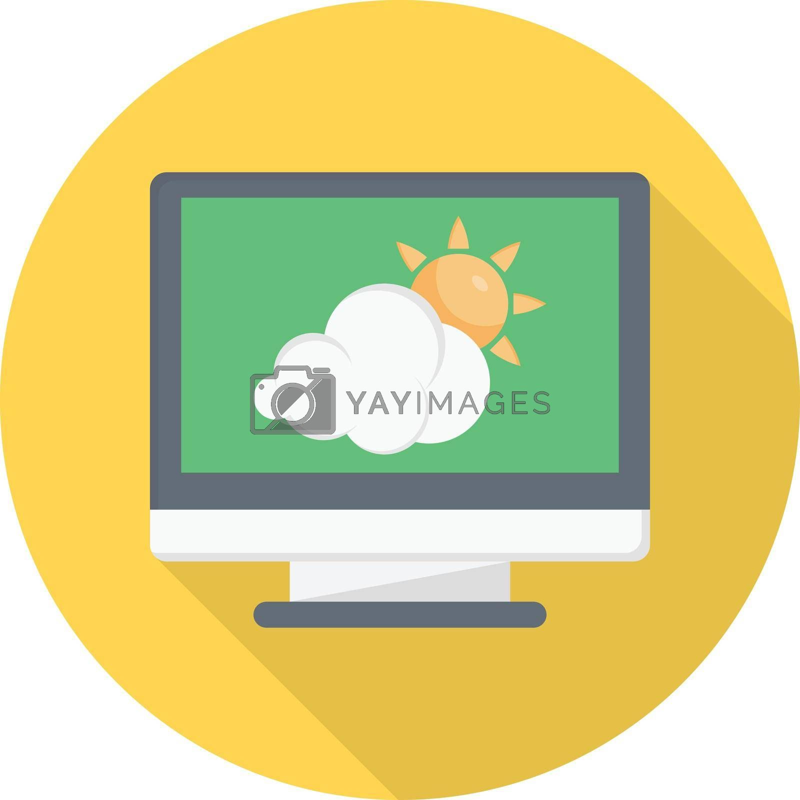 screen weather vector flat colour icon