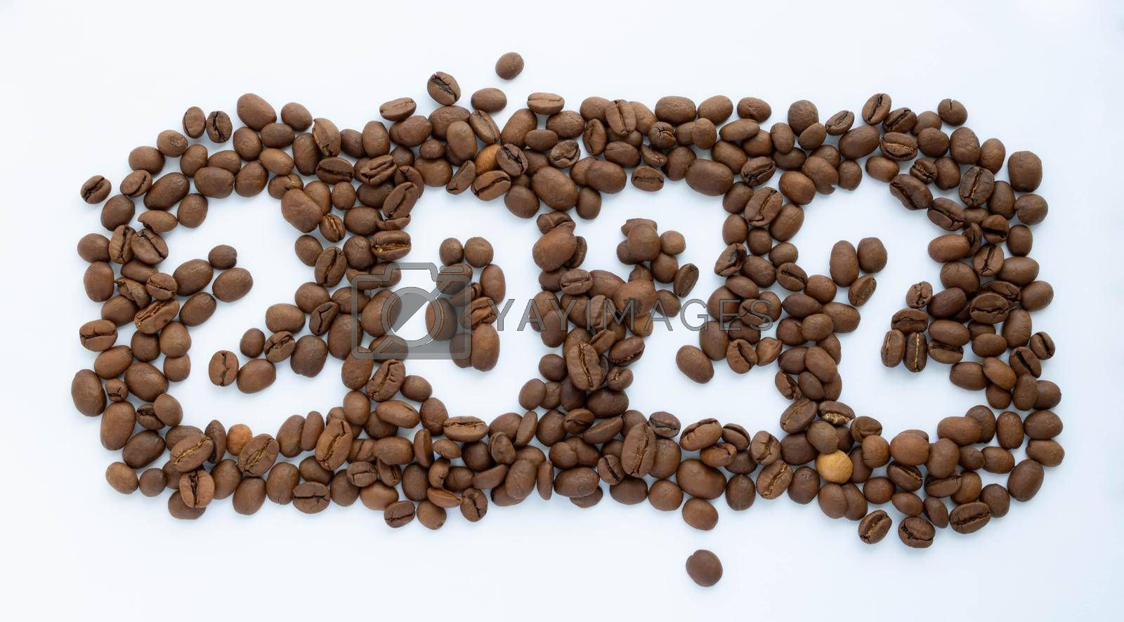 The numbers 2022 on the background of coffee beans. New Year's Eve 2022.New Year's calendar.