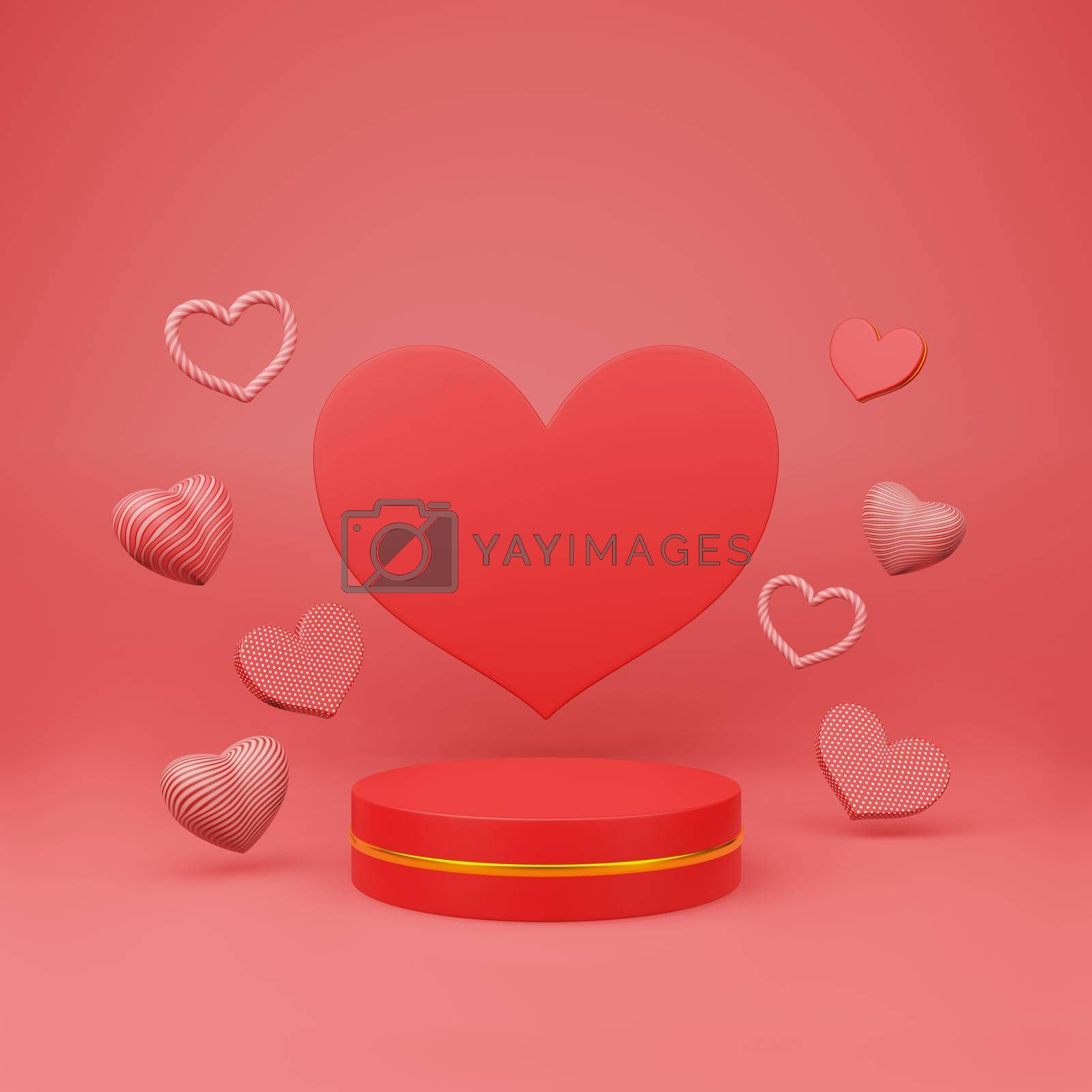 Royalty free image of Red podium with beautiful heart sharp floating by eaglesky