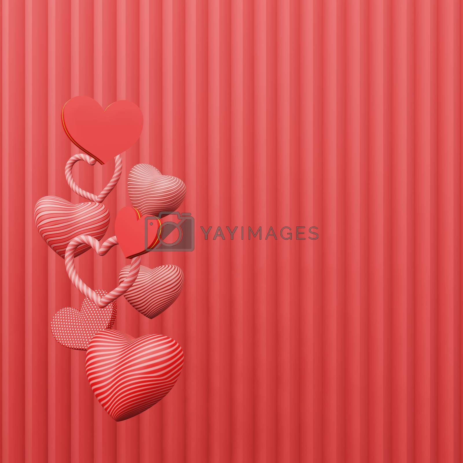 Royalty free image of Beautiful heart sharp floating stack red background copy space by eaglesky