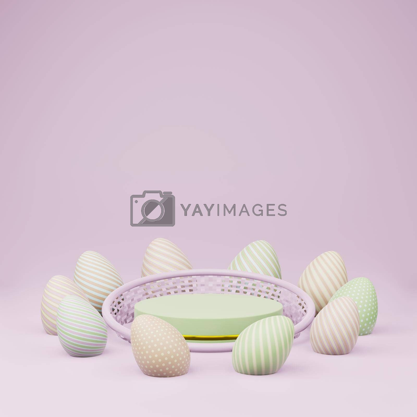 Royalty free image of Green cylinder podium with basket and easter eggs copy space by eaglesky