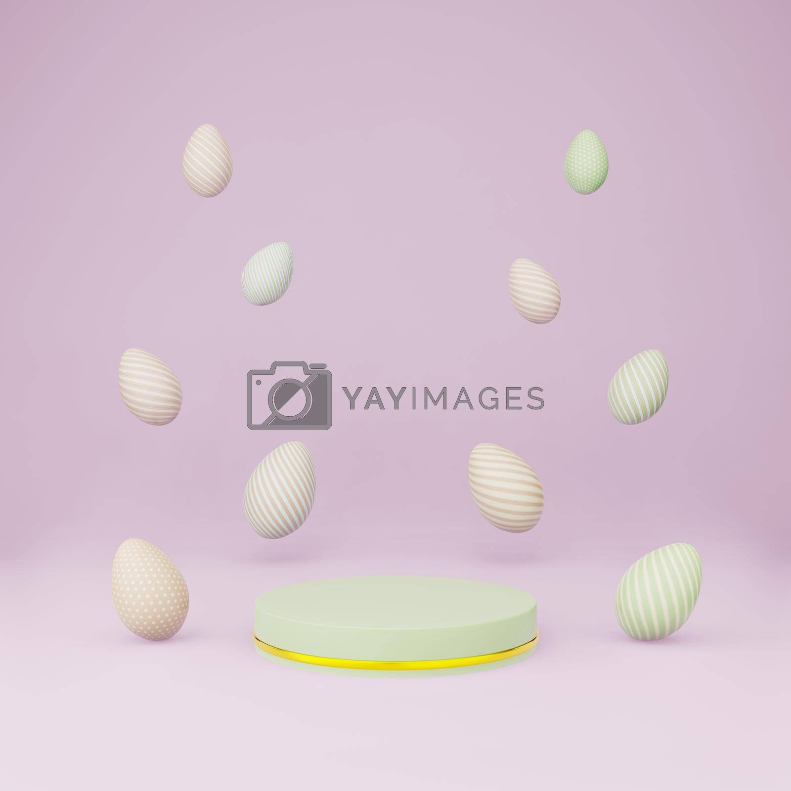 Royalty free image of Green cylinder podium with easter eggs float copy space by eaglesky